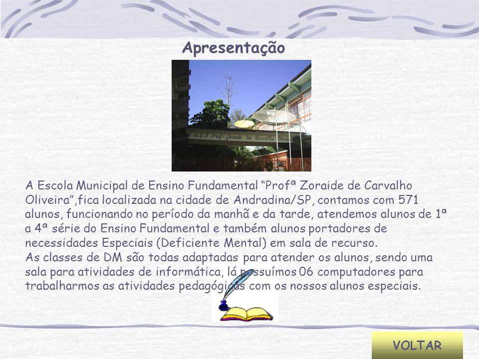 Apresentação VOLTAR A Escola Municipal de Ensino Fundamental Profª Zoraide de Carvalho Oliveira,fica localizada na cidade de Andradina/SP, contamos co