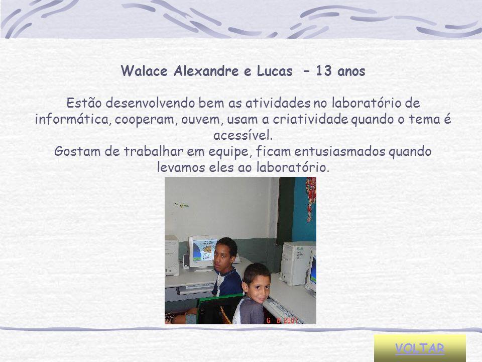 VOLTAR Walace Alexandre e Lucas – 13 anos Estão desenvolvendo bem as atividades no laboratório de informática, cooperam, ouvem, usam a criatividade qu