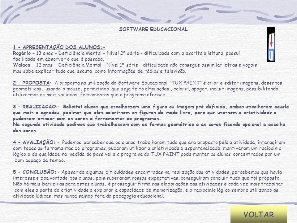 SOFTWARE EDUCACIONAL 1 – APRESENTAÇÃO DOS ALUNOS:- Rogério – 13 anos – Deficiência Mental – Nível 2ª série – dificuldade com a escrita e leitura, poss