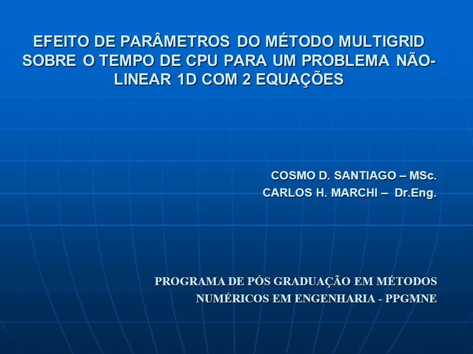 Objetivo Estudar a influência de vários parâmetros do método Multigrid Geométrico sobre o tempo de CPU