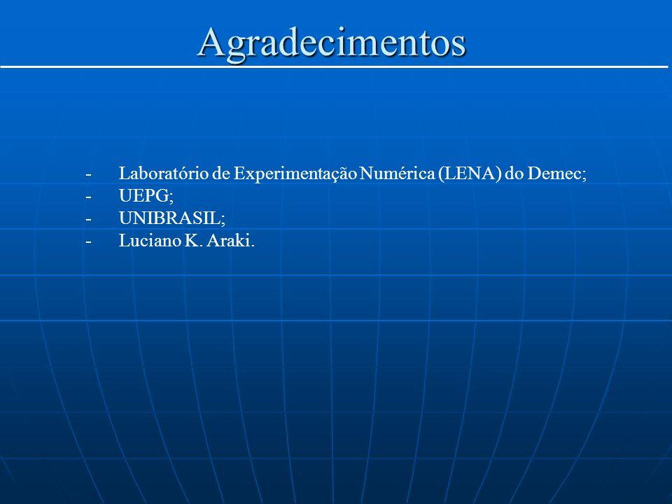 Agradecimentos -Laboratório de Experimentação Numérica (LENA) do Demec; -UEPG; -UNIBRASIL; -Luciano K. Araki.