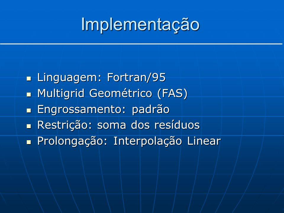Implementação Linguagem: Fortran/95 Linguagem: Fortran/95 Multigrid Geométrico (FAS) Multigrid Geométrico (FAS) Engrossamento: padrão Engrossamento: p