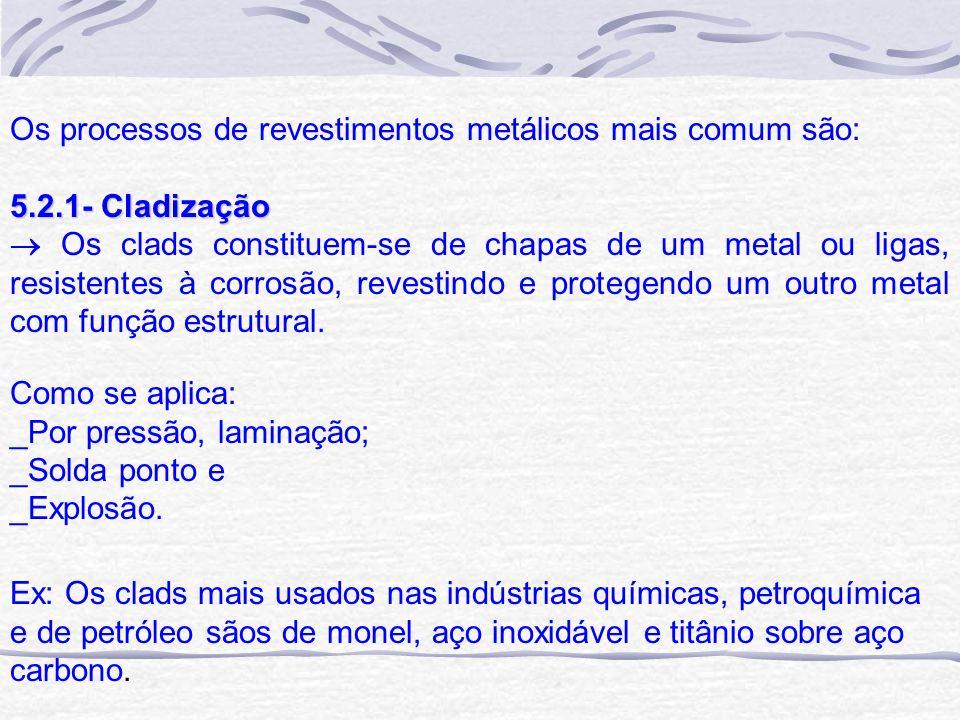 Os processos de revestimentos metálicos mais comum são: 5.2.1- Cladização Os clads constituem-se de chapas de um metal ou ligas, resistentes à corrosã