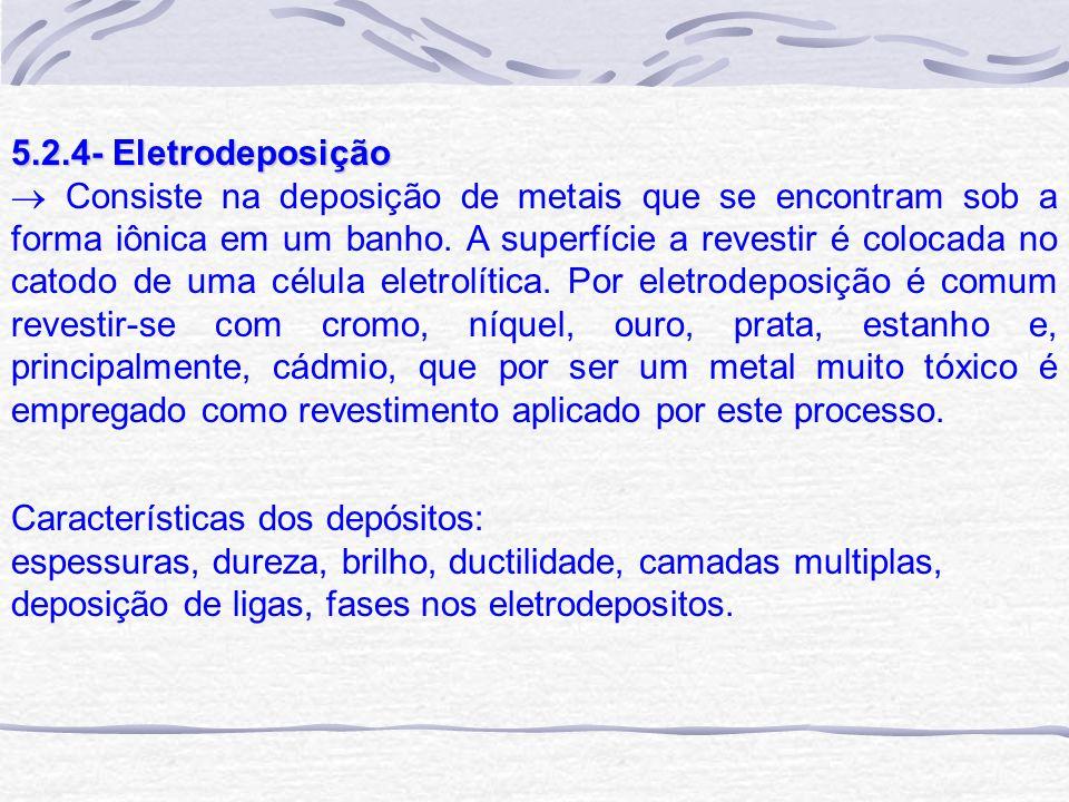 5.2.4- Eletrodeposição Consiste na deposição de metais que se encontram sob a forma iônica em um banho. A superfície a revestir é colocada no catodo d