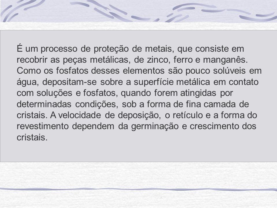 É um processo de proteção de metais, que consiste em recobrir as peças metálicas, de zinco, ferro e manganês. Como os fosfatos desses elementos são po