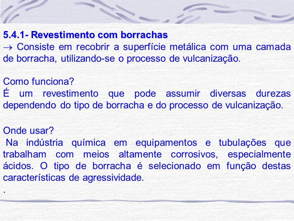 Revestimento com borrachas 5.4.1- Revestimento com borrachas Consiste em recobrir a superfície metálica com uma camada de borracha, utilizando-se o pr