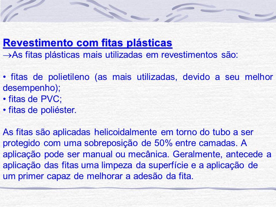 Revestimento com fitas plásticas As fitas plásticas mais utilizadas em revestimentos são: fitas de polietileno (as mais utilizadas, devido a seu melho