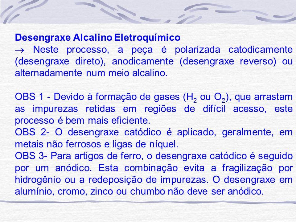 Desengraxe Alcalino Eletroquímico Neste processo, a peça é polarizada catodicamente (desengraxe direto), anodicamente (desengraxe reverso) ou alternad