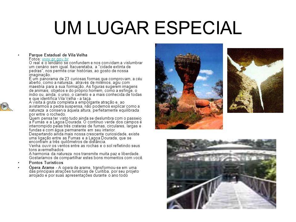 UM LUGAR ESPECIAL Parque Estadual de Vila Velha Fotos: www.pr.gov.br O real e o lendário se confundem e nos convidam a vislumbrar um cenário sem igual