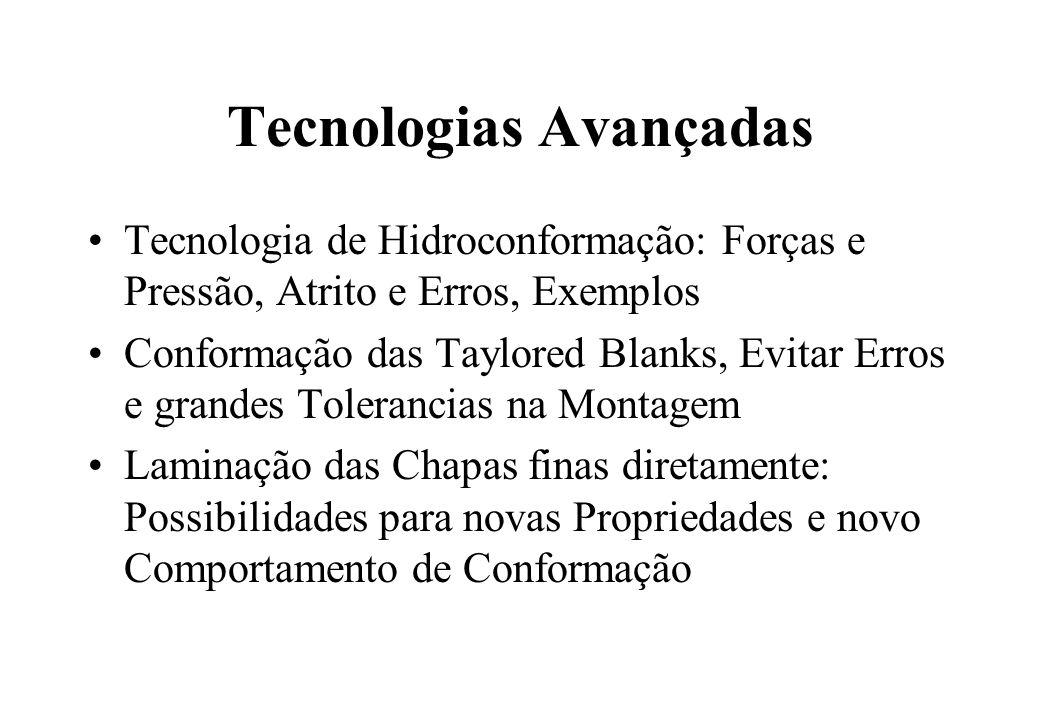 Tecnologias Avançadas Tecnologia de Hidroconformação: Forças e Pressão, Atrito e Erros, Exemplos Conformação das Taylored Blanks, Evitar Erros e grand