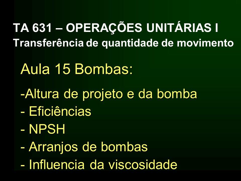 TA 631 – OPERAÇÕES UNITÁRIAS I Transferência de quantidade de movimento Aula 15 Bombas: -Altura de projeto e da bomba - Eficiências - NPSH - Arranjos