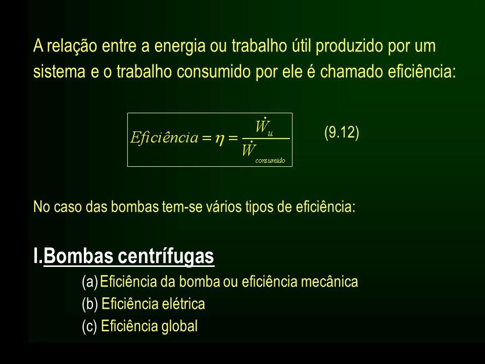 A relação entre a energia ou trabalho útil produzido por um sistema e o trabalho consumido por ele é chamado eficiência: No caso das bombas tem-se vár