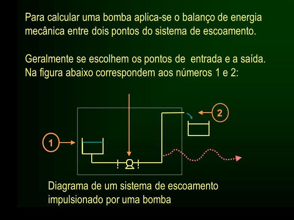 Para calcular uma bomba aplica-se o balanço de energia mecânica entre dois pontos do sistema de escoamento. Diagrama de um sistema de escoamento impul