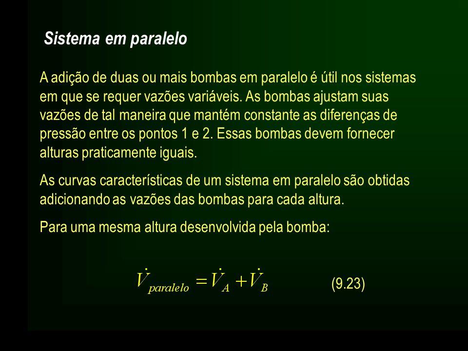Sistema em paralelo A adição de duas ou mais bombas em paralelo é útil nos sistemas em que se requer vazões variáveis. As bombas ajustam suas vazões d