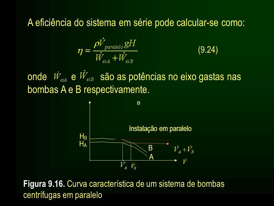 A eficiência do sistema em série pode calcular-se como: (9.24) onde e são as potências no eixo gastas nas bombas A e B respectivamente. Figura 9.16. C