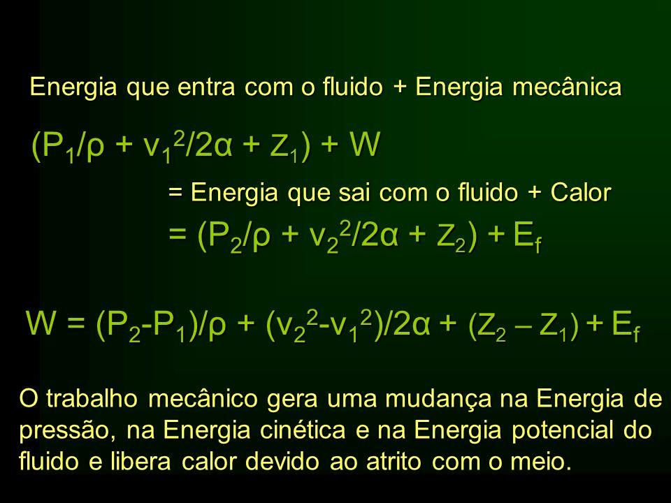 (P 1 /ρ + v 1 2 /2α + Z 1 ) + W W = (P 2 -P 1 )/ρ + (v 2 2 -v 1 2 )/2α + (Z 2 – Z 1 ) +E f W = (P 2 -P 1 )/ρ + (v 2 2 -v 1 2 )/2α + (Z 2 – Z 1 ) + E f