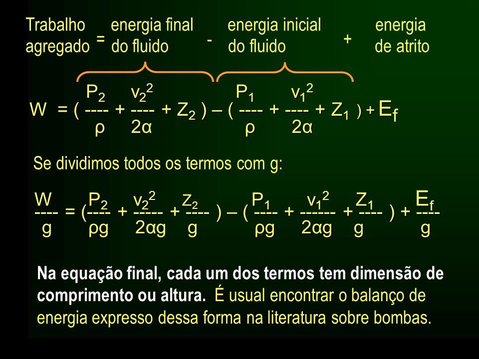 Se dividimos todos os termos com g: Na equação final, cada um dos termos tem dimensão de comprimento ou altura. É usual encontrar o balanço de energia