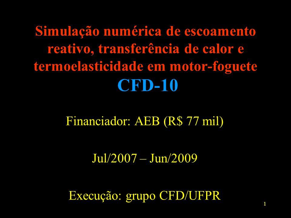 1 Simulação numérica de escoamento reativo, transferência de calor e termoelasticidade em motor-foguete CFD-10 Financiador: AEB (R$ 77 mil) Jul/2007 –