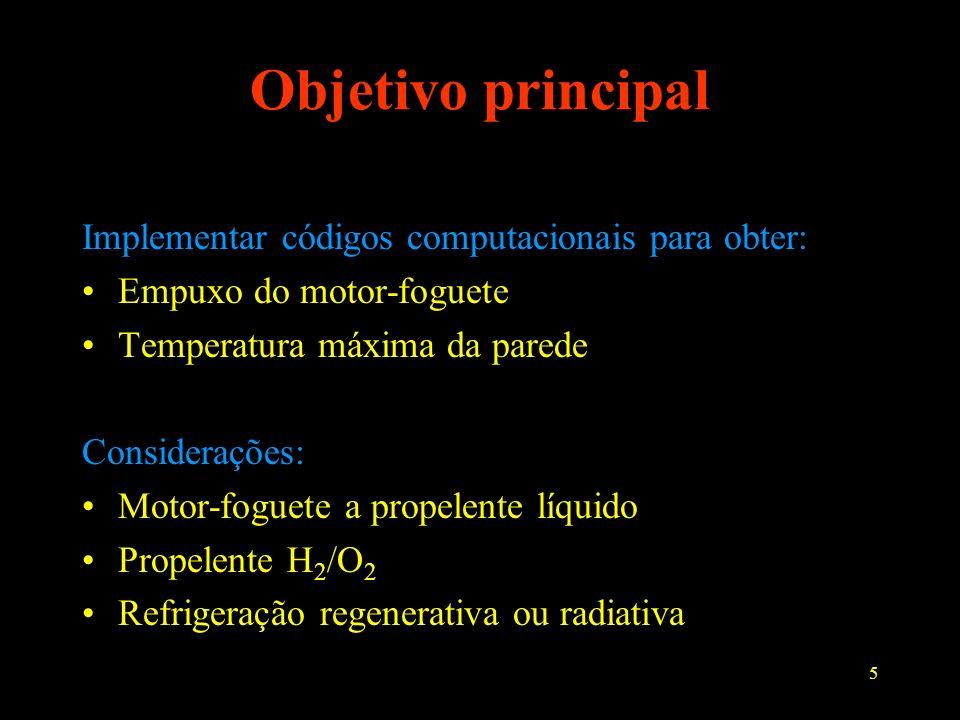 5 Objetivo principal Implementar códigos computacionais para obter: Empuxo do motor-foguete Temperatura máxima da parede Considerações: Motor-foguete