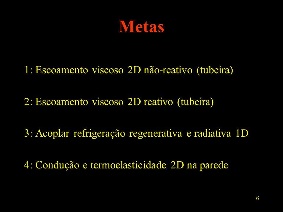 6 Metas 1: Escoamento viscoso 2D não-reativo (tubeira) 2: Escoamento viscoso 2D reativo (tubeira) 3: Acoplar refrigeração regenerativa e radiativa 1D