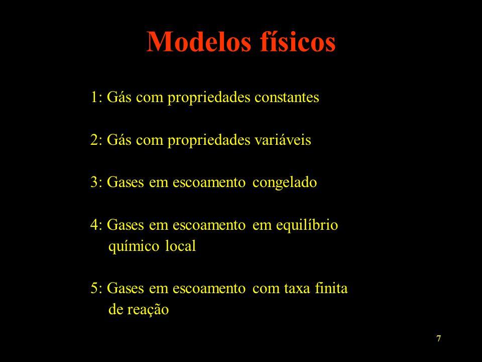 7 Modelos físicos 1: Gás com propriedades constantes 2: Gás com propriedades variáveis 3: Gases em escoamento congelado 4: Gases em escoamento em equi