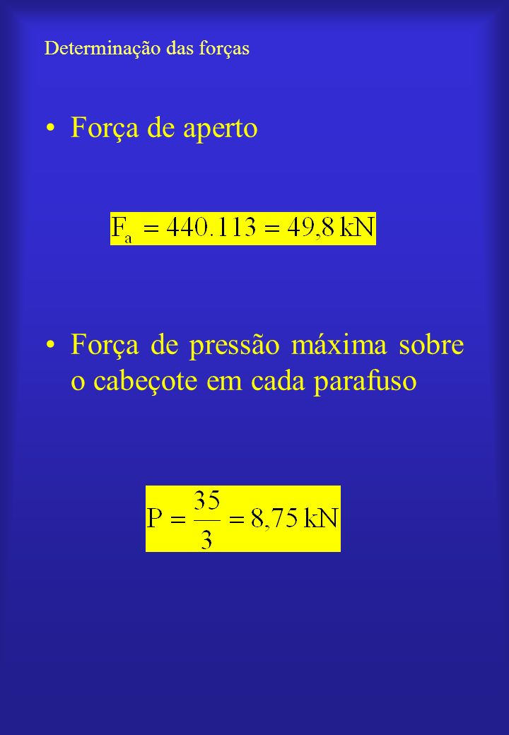Número de voltas para o aperto Avanço da rosca: d Deformação do parafuso: p Passo do parafuso: p Número de voltas