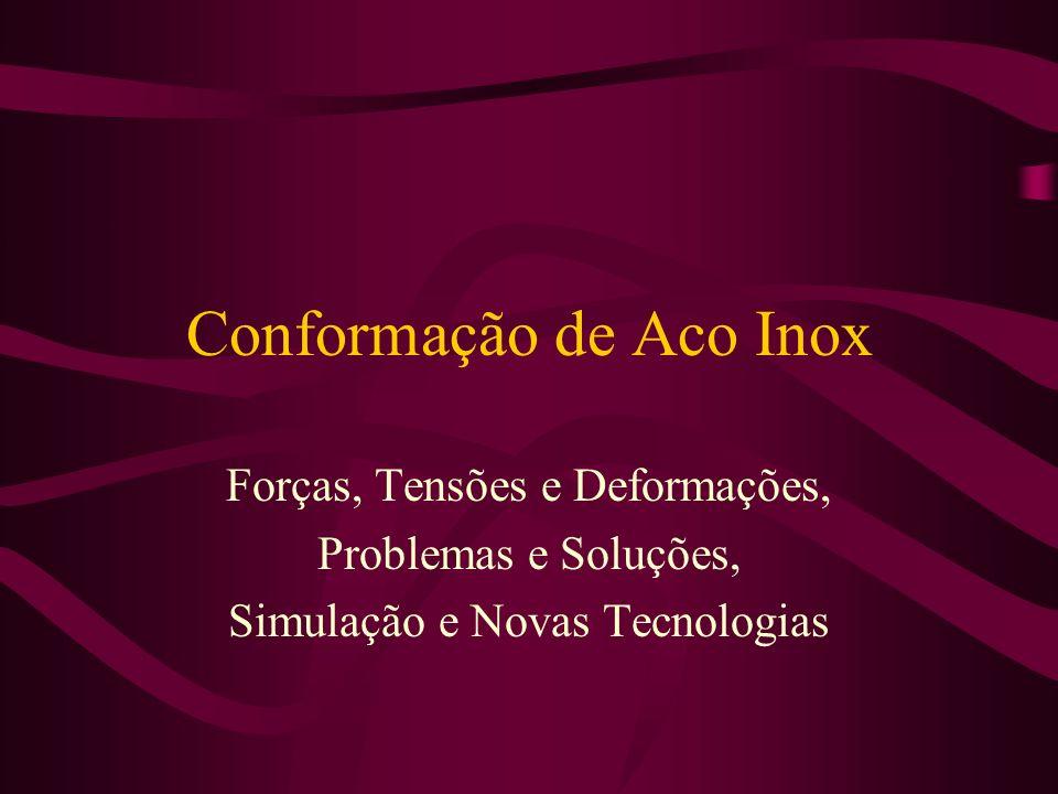 Conformação de Aco Inox Forças, Tensões e Deformações, Problemas e Soluções, Simulação e Novas Tecnologias