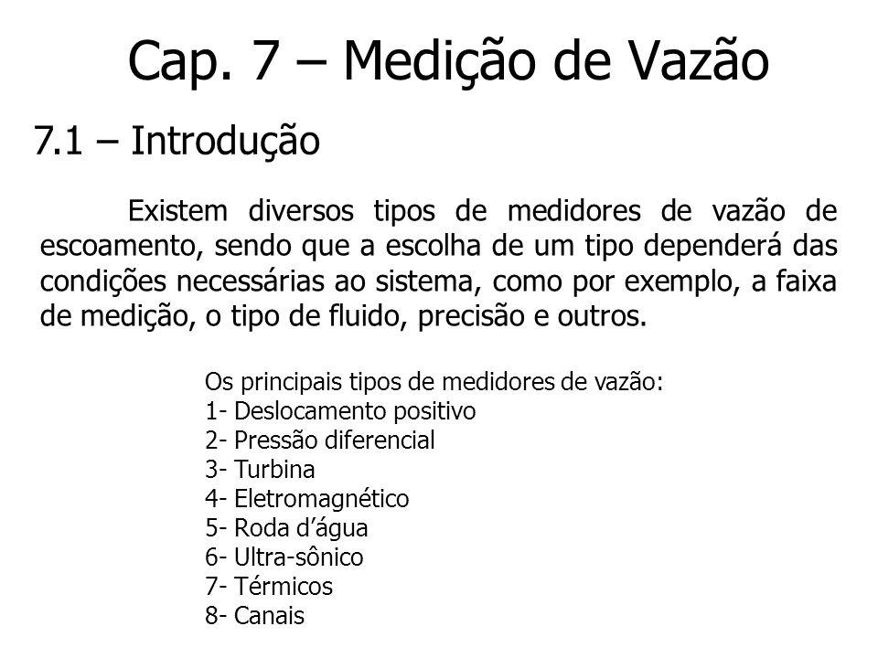 Cap. 7 – Medição de Vazão Existem diversos tipos de medidores de vazão de escoamento, sendo que a escolha de um tipo dependerá das condições necessári