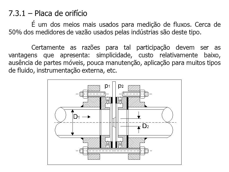 7.3.1 – Placa de orifício É um dos meios mais usados para medição de fluxos. Cerca de 50% dos medidores de vazão usados pelas indústrias são deste tip