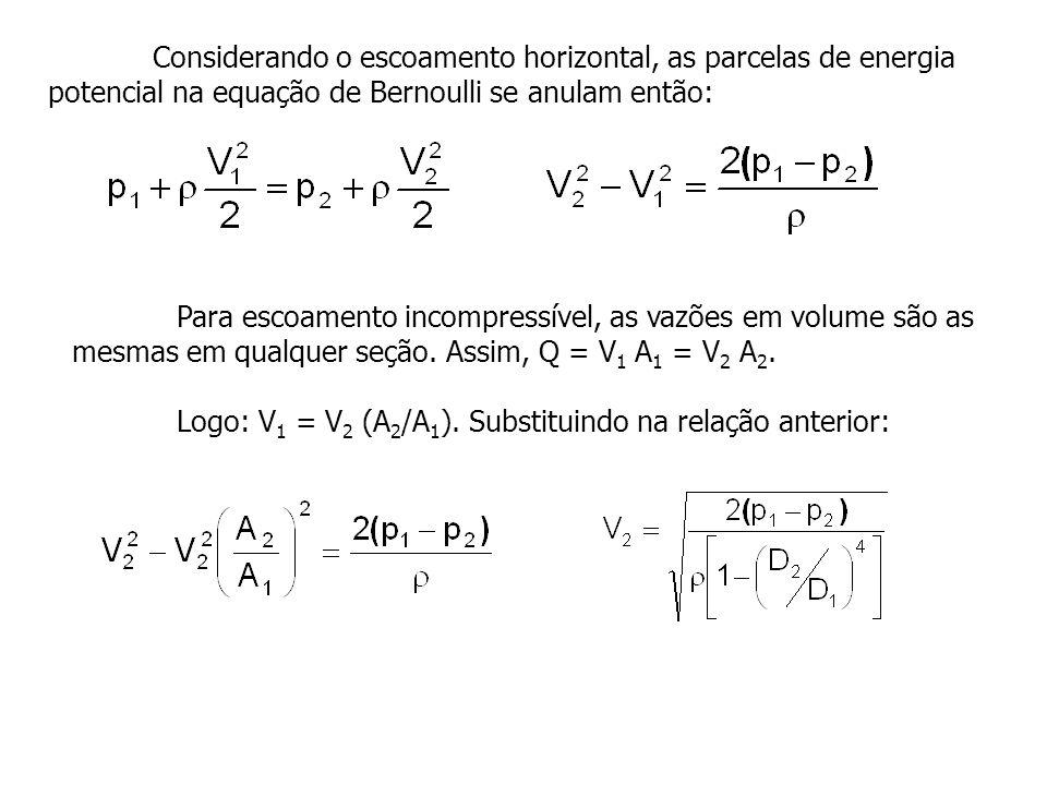 Considerando o escoamento horizontal, as parcelas de energia potencial na equação de Bernoulli se anulam então: Para escoamento incompressível, as vaz