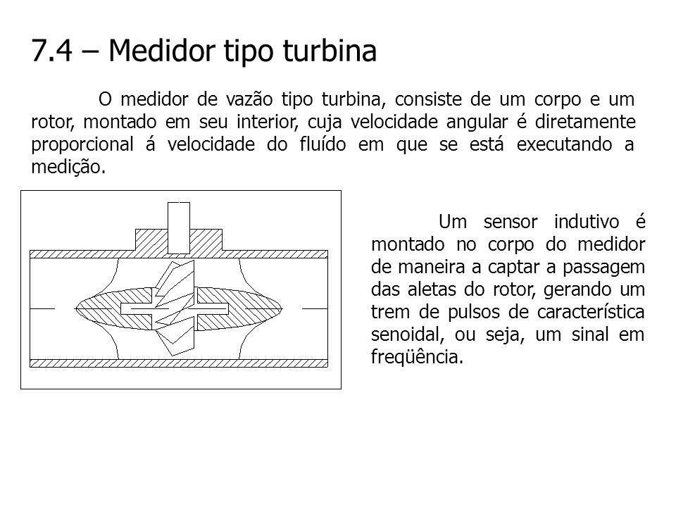 7.4 – Medidor tipo turbina O medidor de vazão tipo turbina, consiste de um corpo e um rotor, montado em seu interior, cuja velocidade angular é direta