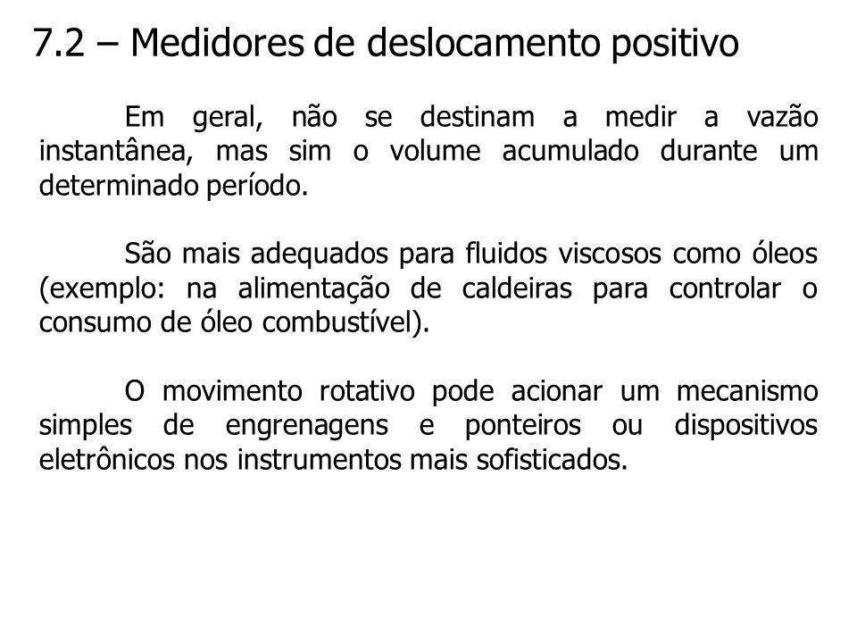 7.2 – Medidores de deslocamento positivo Em geral, não se destinam a medir a vazão instantânea, mas sim o volume acumulado durante um determinado perí
