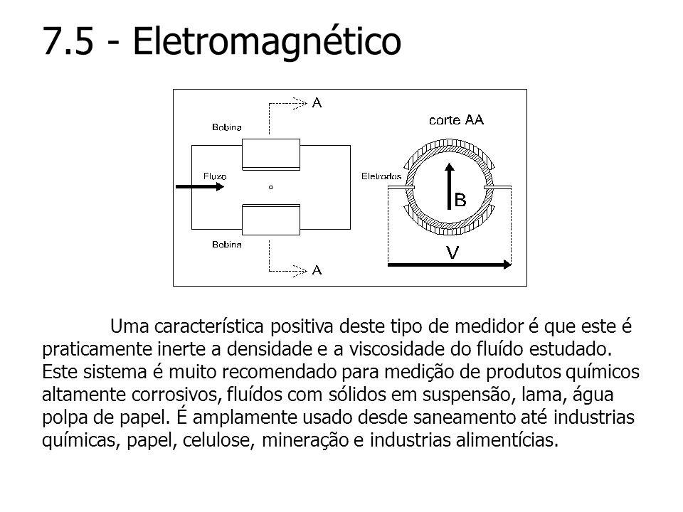 7.5 - Eletromagnético Uma característica positiva deste tipo de medidor é que este é praticamente inerte a densidade e a viscosidade do fluído estudad