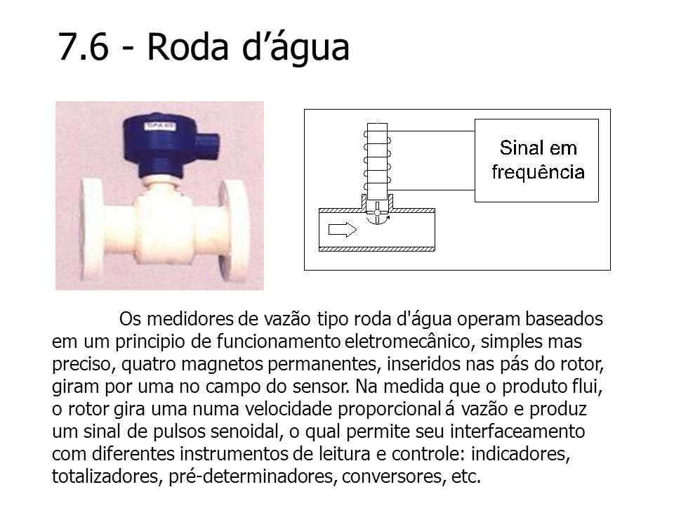 7.6 - Roda dágua Os medidores de vazão tipo roda d'água operam baseados em um principio de funcionamento eletromecânico, simples mas preciso, quatro m