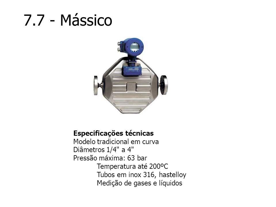 7.7 - Mássico Especificações técnicas Modelo tradicional em curva Diâmetros 1/4