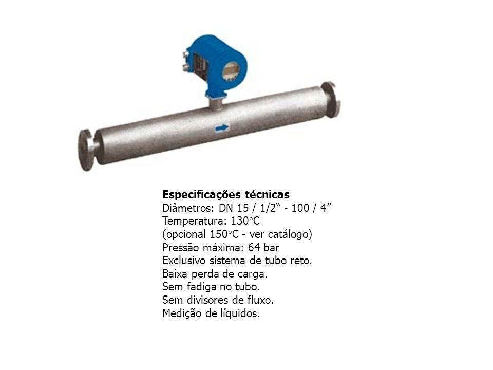Especificações técnicas Diâmetros: DN 15 / 1/2 - 100 / 4 Temperatura: 130°C (opcional 150°C - ver catálogo) Pressão máxima: 64 bar Exclusivo sistema d