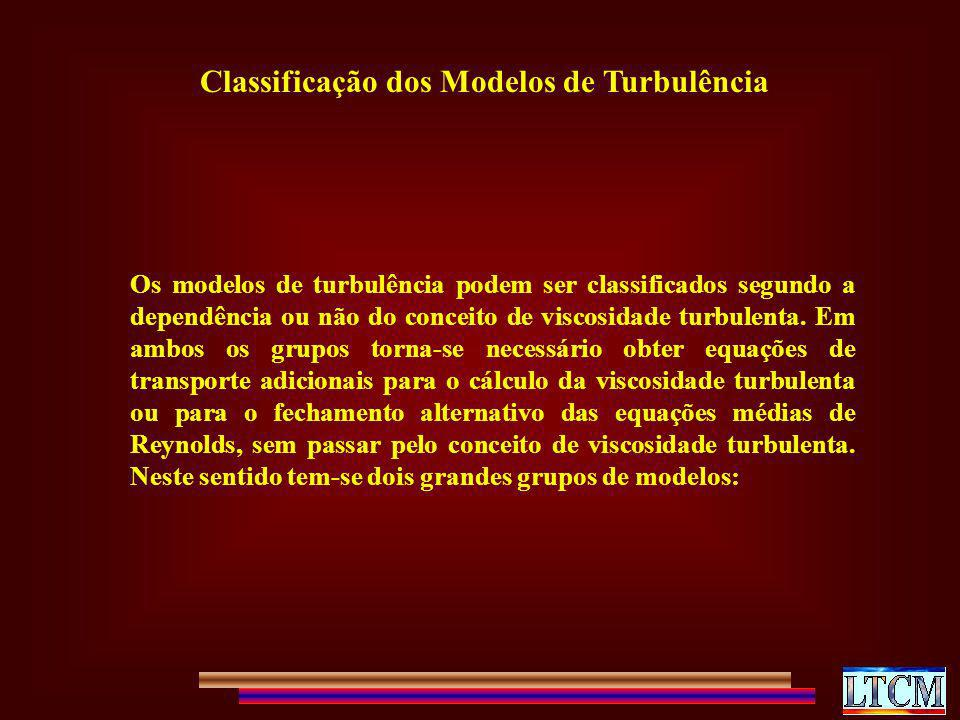 Classificação dos Modelos de Turbulência Os modelos de turbulência podem ser classificados segundo a dependência ou não do conceito de viscosidade tur