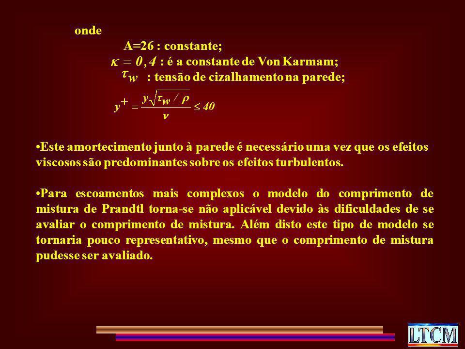 onde A=26 : constante; : é a constante de Von Karmam; : tensão de cizalhamento na parede; Este amortecimento junto à parede é necessário uma vez que o