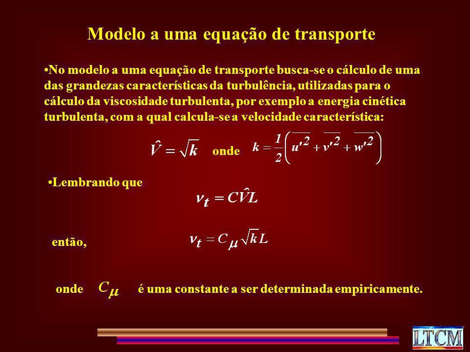 Modelo a uma equação de transporte No modelo a uma equação de transporte busca-se o cálculo de uma das grandezas características da turbulência, utili