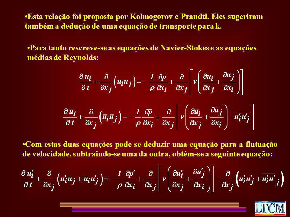 Esta relação foi proposta por Kolmogorov e Prandtl. Eles sugeriram também a dedução de uma equação de transporte para k. Para tanto rescreve-se as equ