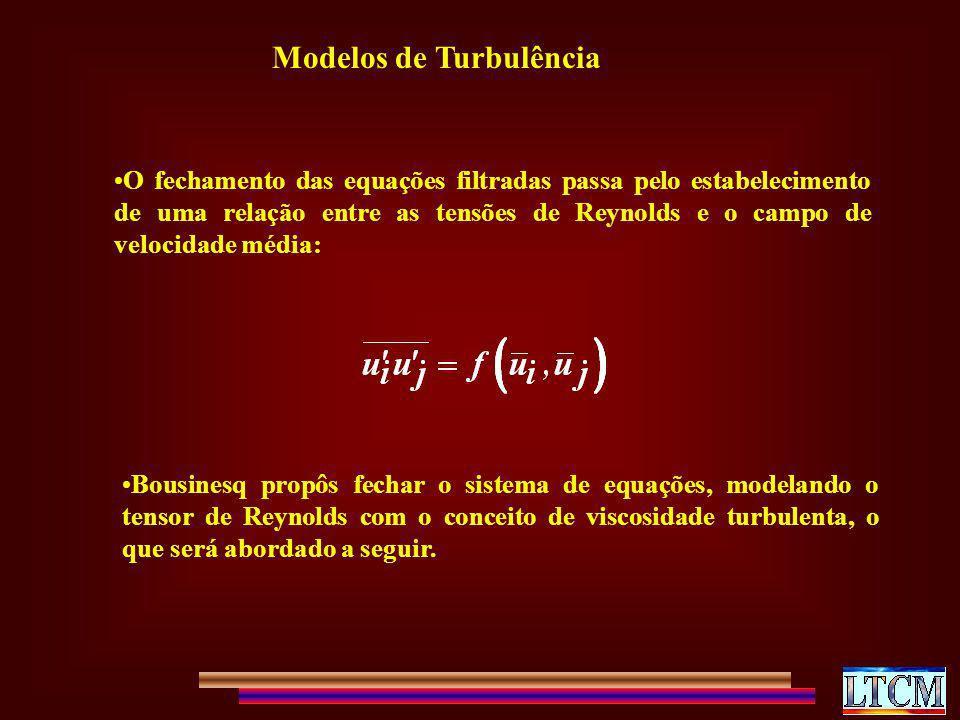 Modelos de Turbulência O fechamento das equações filtradas passa pelo estabelecimento de uma relação entre as tensões de Reynolds e o campo de velocid