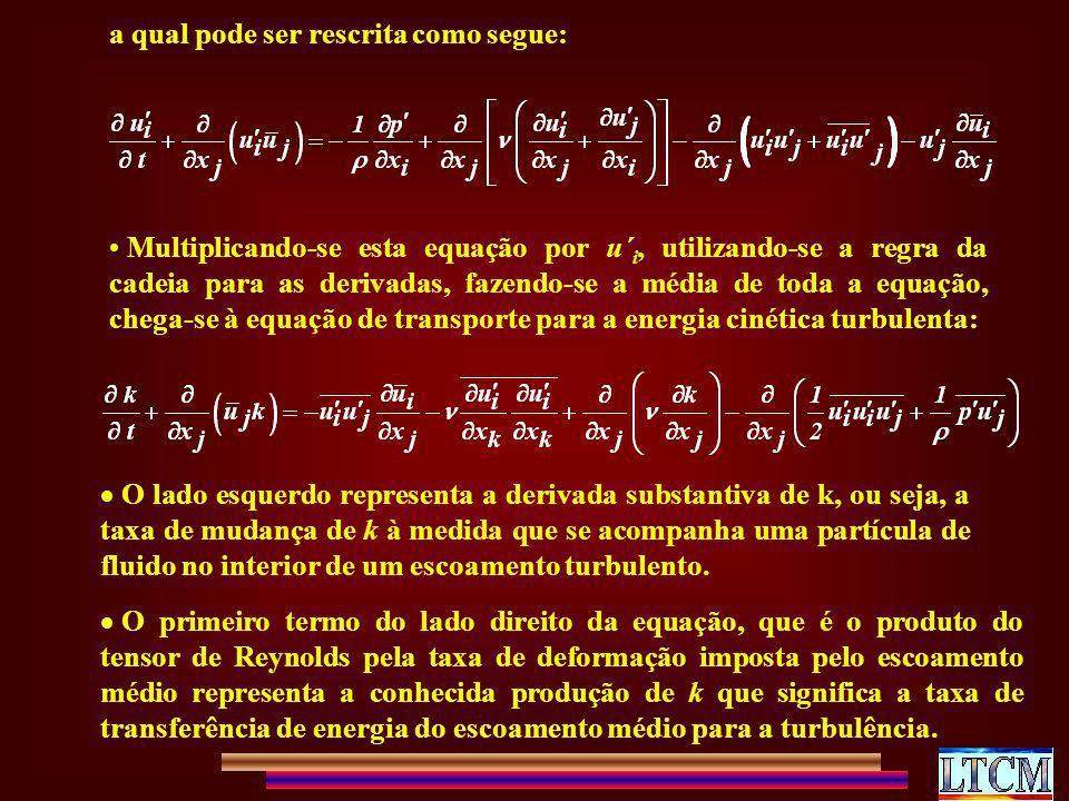 a qual pode ser rescrita como segue: Multiplicando-se esta equação por u´ i, utilizando-se a regra da cadeia para as derivadas, fazendo-se a média de