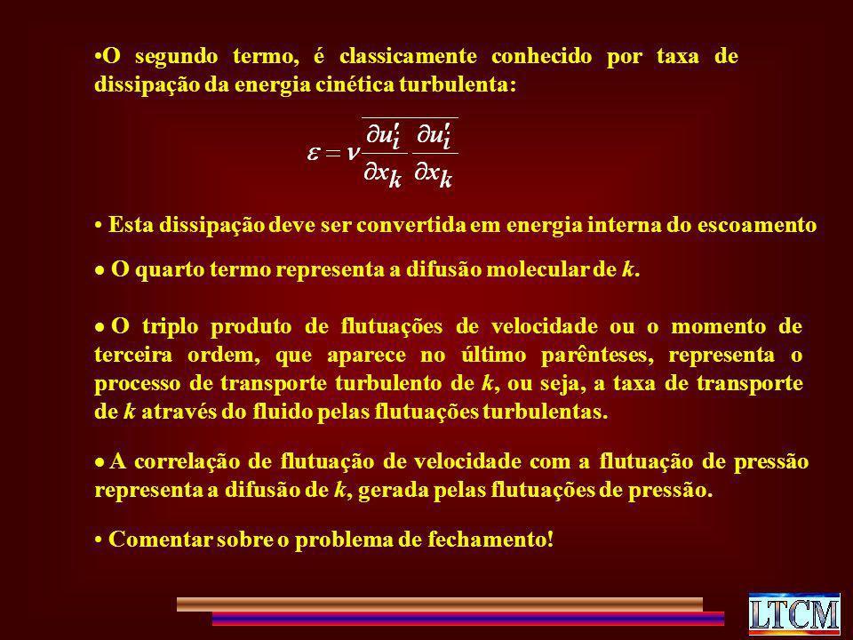 O segundo termo, é classicamente conhecido por taxa de dissipação da energia cinética turbulenta: Esta dissipação deve ser convertida em energia inter