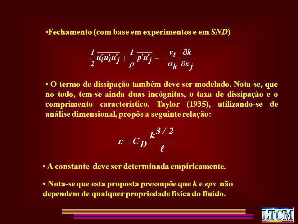 Fechamento (com base em experimentos e em SND) O termo de dissipação também deve ser modelado. Nota-se, que no todo, tem-se ainda duas incógnitas, o t