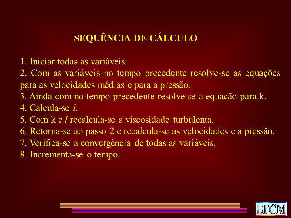 SEQUÊNCIA DE CÁLCULO 1. Iniciar todas as variáveis. 2. Com as variáveis no tempo precedente resolve-se as equações para as velocidades médias e para a
