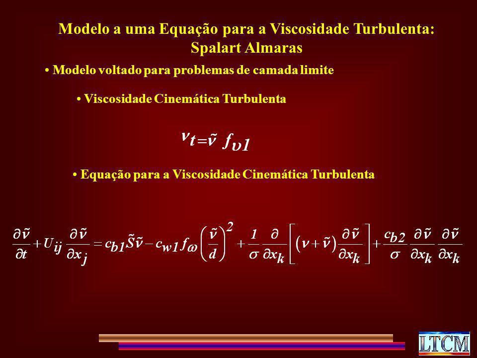Modelo a uma Equação para a Viscosidade Turbulenta: Spalart Almaras Modelo voltado para problemas de camada limite Viscosidade Cinemática Turbulenta E
