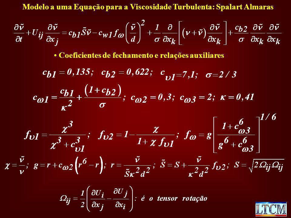 Modelo a uma Equação para a Viscosidade Turbulenta: Spalart Almaras Coeficientes de fechamento e relações auxiliares