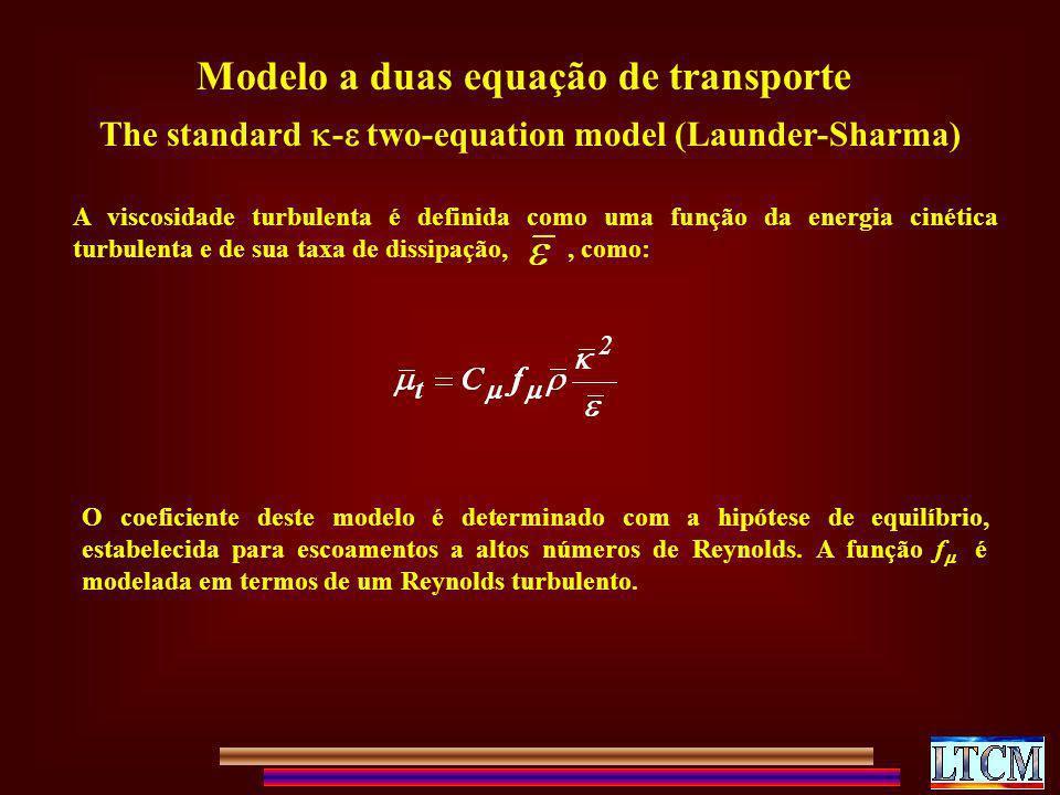 The standard - two-equation model (Launder-Sharma) Modelo a duas equação de transporte A viscosidade turbulenta é definida como uma função da energia