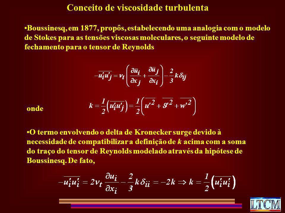 Conceito de viscosidade turbulenta Boussinesq, em 1877, propôs, estabelecendo uma analogia com o modelo de Stokes para as tensões viscosas moleculares