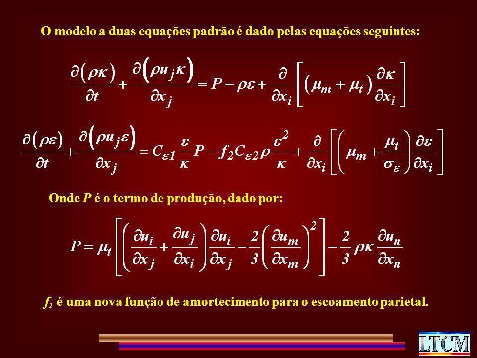 O modelo a duas equações padrão é dado pelas equações seguintes: Onde P é o termo de produção, dado por: f 2 é uma nova função de amortecimento para o
